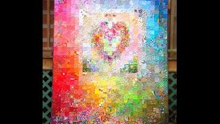 Postage stamp watercolor heart quilt  M