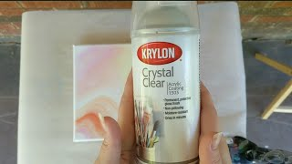 Sealing Acrylic Pour Painting with Krylon Crystal Clear Acrylic Coating