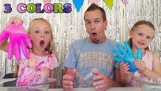 Mystery Box of Slime Gloves Challenge! 3 Colors of Glue!!!