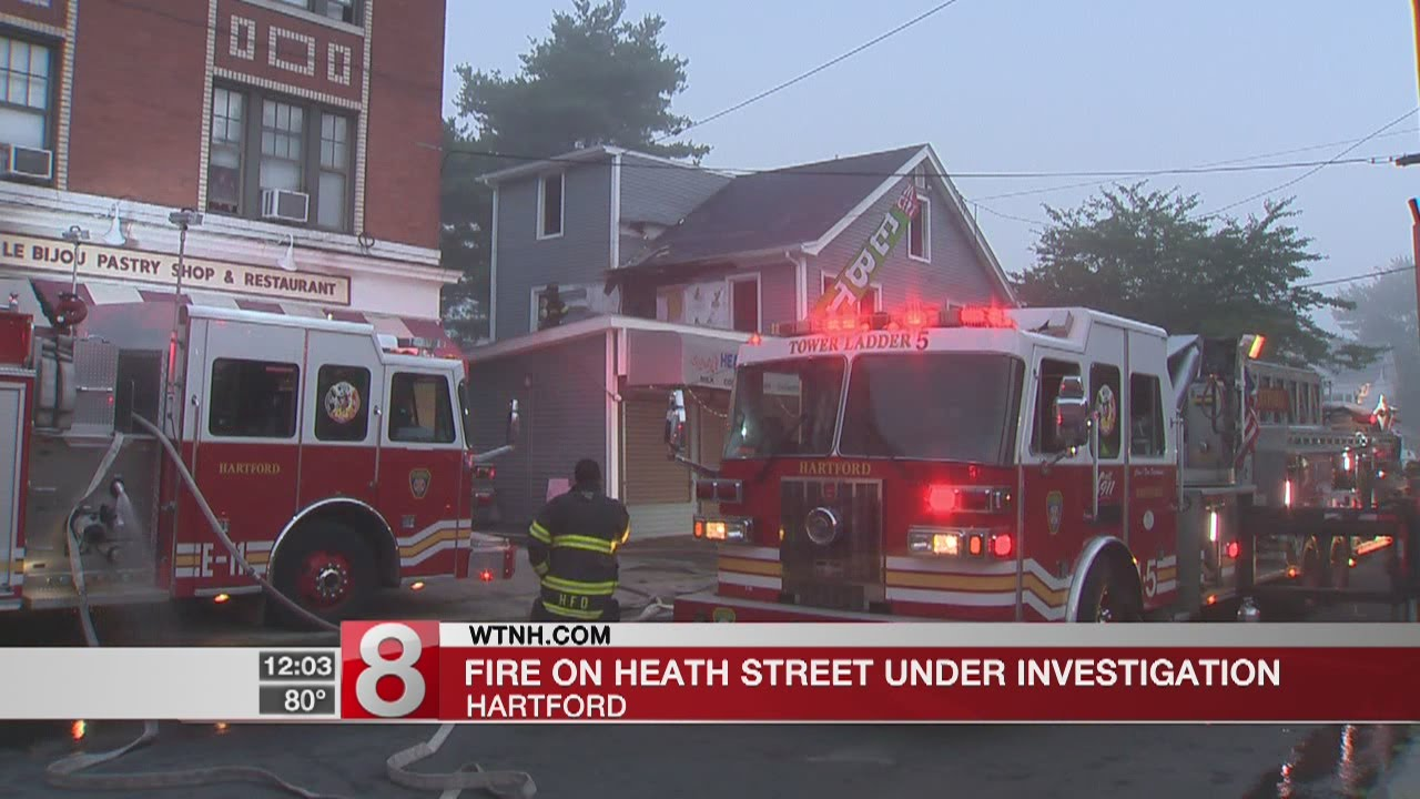 Hartford firefighters battle fire that closed Heath Street