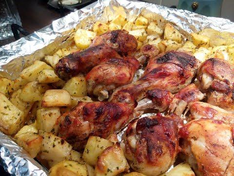 Курячі гомілки з картоплею в духовці /Куриные голени с картофелем в духовке