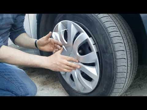 Установка колпаков на колеса хомутами  скрытно.  Hidden Fastening Of Automobile Caps With Clamps