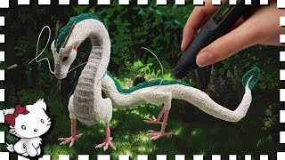 3D Pen Anime Creation ♥ Chihiro's Haku Dragon / Drache ♥ from Spirited Away! 12 Inches long!