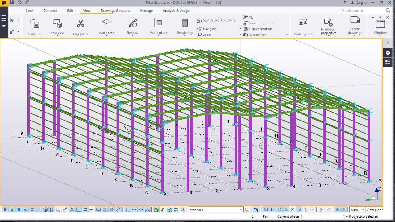 Double Span Portal Frame Modelling In Tekla Structures