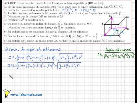 géométrie dans l'espace - Angle maximum - sujet de BAC - très très IMPORTANT