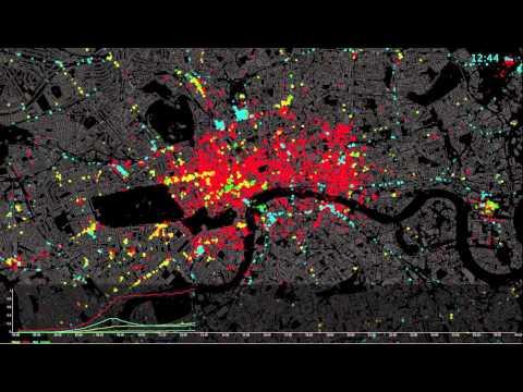 Geolocated Tweets  - Weekday, London