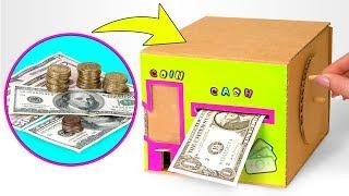 Super tolle Sparbank aus Karton für Münzen und Geldscheine