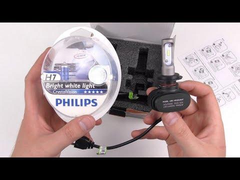 LED Лампы против Галогеновых цоколь H7, LED H7 Carlitek 25 Вт 4000LM 6000 К с AliExpress