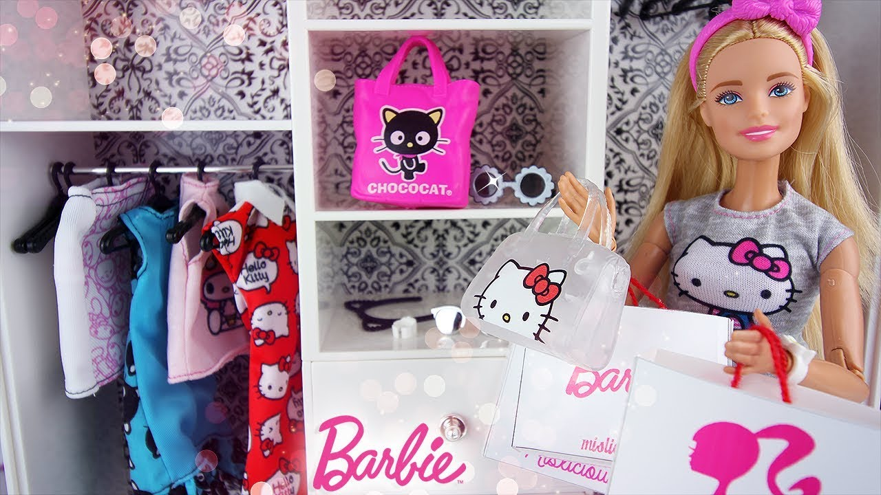 garde robe de barbie haul v tements hello kitty et accessoires dressing de poup es dolls closet. Black Bedroom Furniture Sets. Home Design Ideas