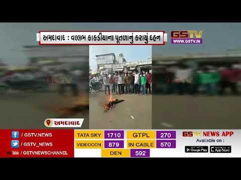 Ahmedabad: Minister of State Transport Minister Vallabh Kakaliya effigy burnt