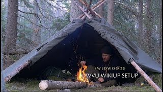 3 Lavvu Poncho Wikiup Setup - Bushcraft Bow Saw - Solo Overnight - Wood Repair