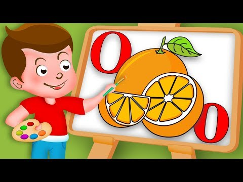 Drawing Alphabet O Letter with Orange Fruit Drawing Paint And Colouring For Kids Kids Drawing TV