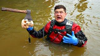 Эту жуткую находку мы нашли под водой где потеряли магнит во время магнитной рыбалки