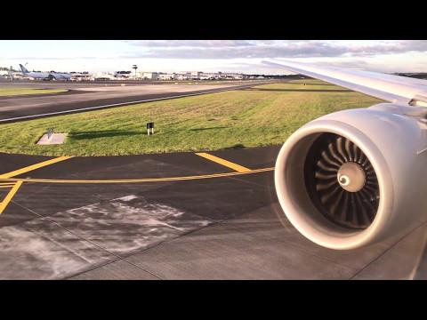 Air New Zealand flight NZ136 BNE-AKL takeoff and landing featuring GE90 engines