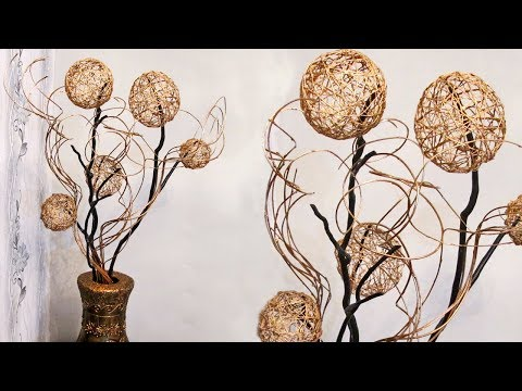 How to make home decor from branches and balls of thread