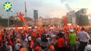 بالفيديو: ساحة الشهداء بوسط بيروت تكتسي باللون البرتقالي للمطالبة بقانون جديد للإنتخابات البرلمانية