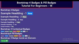 Bootstrap4 Tutorial For Beginners - 18 | Bootstrap4 Badges and Pill Badges Tutorial