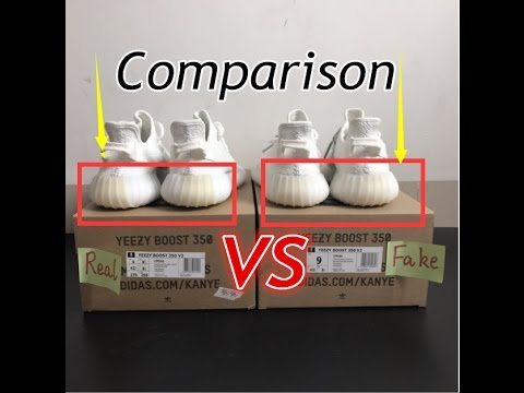 89f840f73 Adidas Yeezy Boost 350 V2 Cream White Real VS FAKE Comparison Review ...