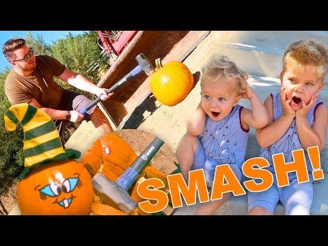 KIDS REACT TO DAD'S PUMPKIN SMASH! 🎃 (10,000fps!)