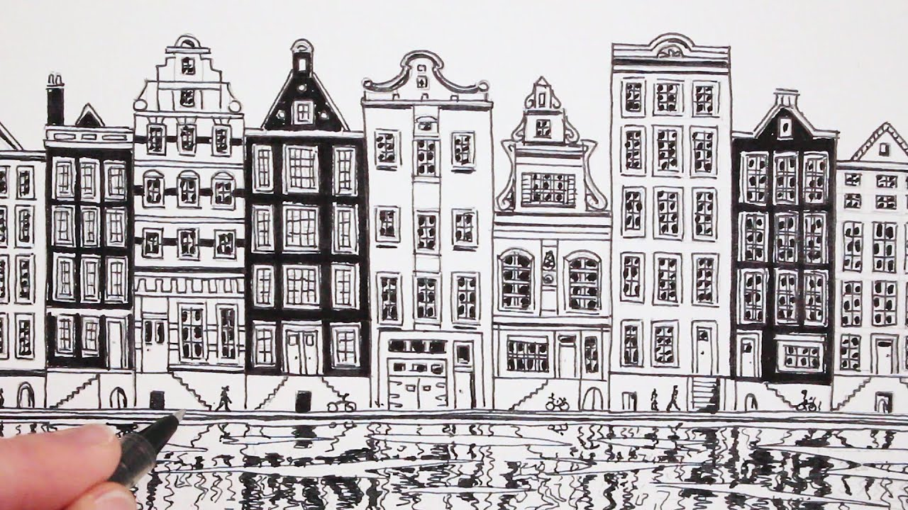 How to draw a house view of amsterdam dutch house youtube for Dutch house