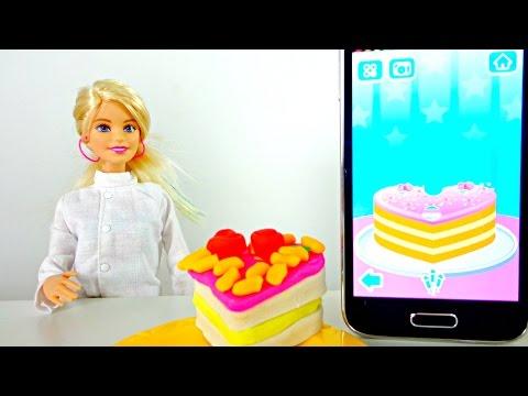 Кукла Барби и Маша готовят праздничный торт! Видео для девочек