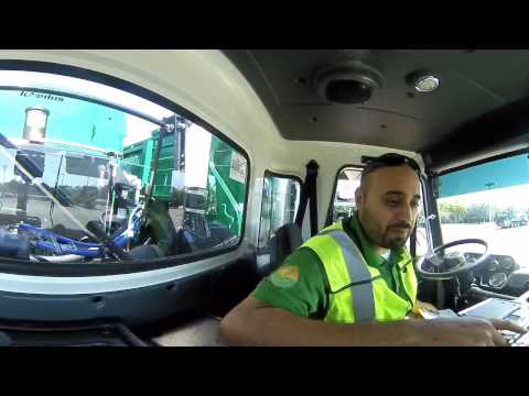 360° Video - Interior of a Waste Management Truck