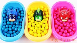 Learn Colors Bubble Gum With Pj Masks Toys Bath Time Finger Family Song HATCHIMALS PAW PATROL Toy