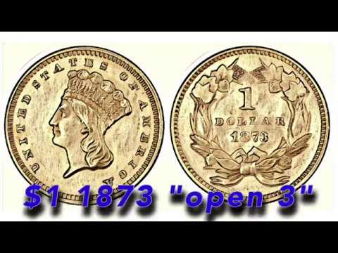 """Another Great Historical Gold Coin This Time A $1 1873 """"open 3"""" Arrives"""