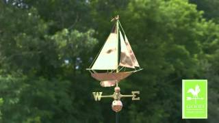 Good Directions 909p Racing Sloop Weathervane Polished Copper Weathervanes.net