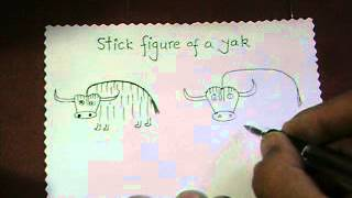 How to draw the stick figure of a yak?   by Lalit Kishore