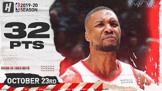 Damian Lillard Full Highlights vs Nuggets (2019.10.23) - 32 Pts, 8 Ast , 4 Reb!
