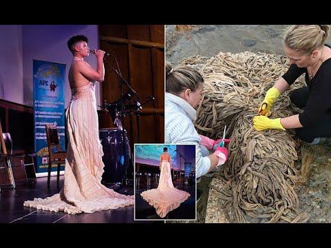 Eco-fashion designer creates gown made of marine waste - Hot Girl