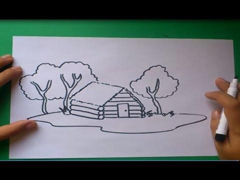 Como dibujar una caba a paso a paso how to draw a cabin - Como construir una cabana ...