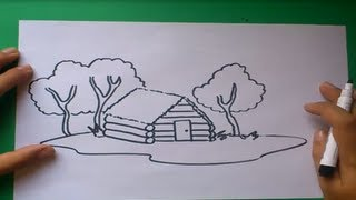 Como dibujar una cabaña paso a paso | How to draw a cabin