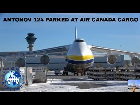 Antonov 124 Parked At Air Canada Cargo (Toronto Pearson Airport) January 13 2017 (AND IN 4K)