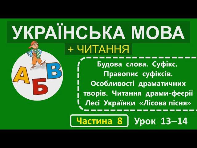 """2 клас. Українська мова + читання. Будова слова. Суфікс. Правопис суфіксів. Особливості драматичних творів. Читання драми-феєрії Лесі Українки """"Лісова пісня""""."""