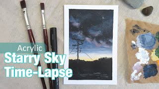 Starry Night Sky Time-lapse Acrylic Painting