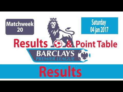 English PREMIER LEAGUE  Matchweek 20 : Results, Goals , Point Tables |  (04/01/2017)