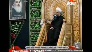 الشيخ مصطفى الموسى - النبي محمد  صلى الله عليه وآله وسلم يحمل الإمامين الحسن والحسين ع على كتفه