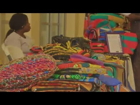 Turning litter into handbags: Nigerian women make fashion accessories from carrier bags