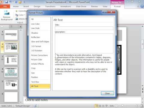 PowerPoint 2010 Set an Alternative Text Description for a Picture or Shape on a Web Page