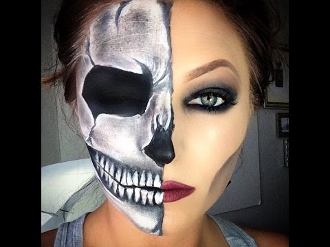 Half Skull Halloween Makeup Tutorial - YouTube