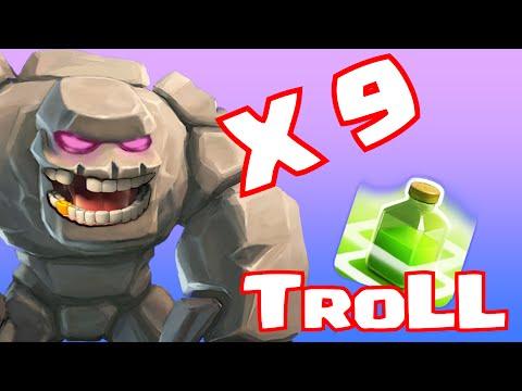Clash of clans GOLEM X 9 CHAMP TROLL (No heroes)