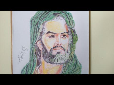 رسم ب قلام الجاف الآمام الحسين( ع )