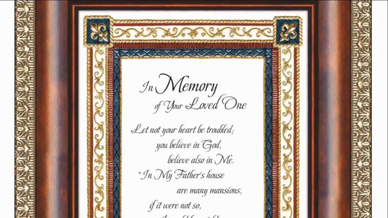 In Memory - Framed Verse - Condolance Bereavement Gift | The ...