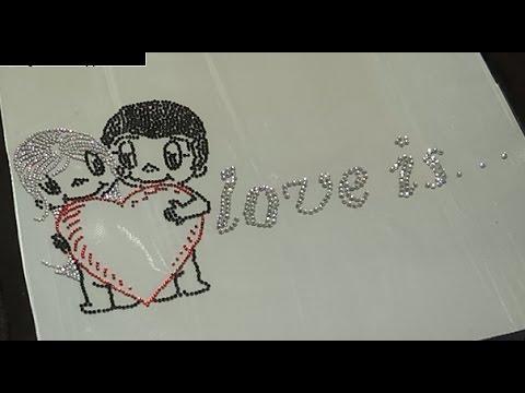 Как выложить из страз картинку, любовь это... Видео №17