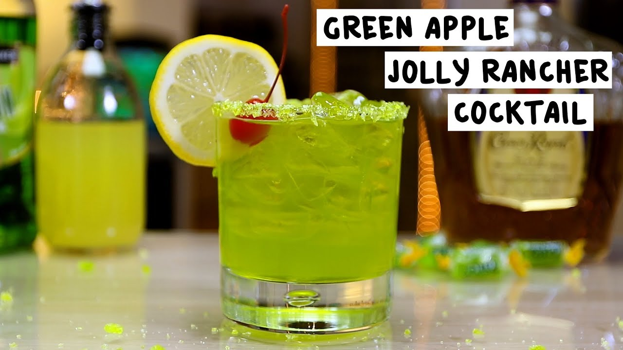 Green apple jolly rancher cocktail youtube for Green apple mixed drinks