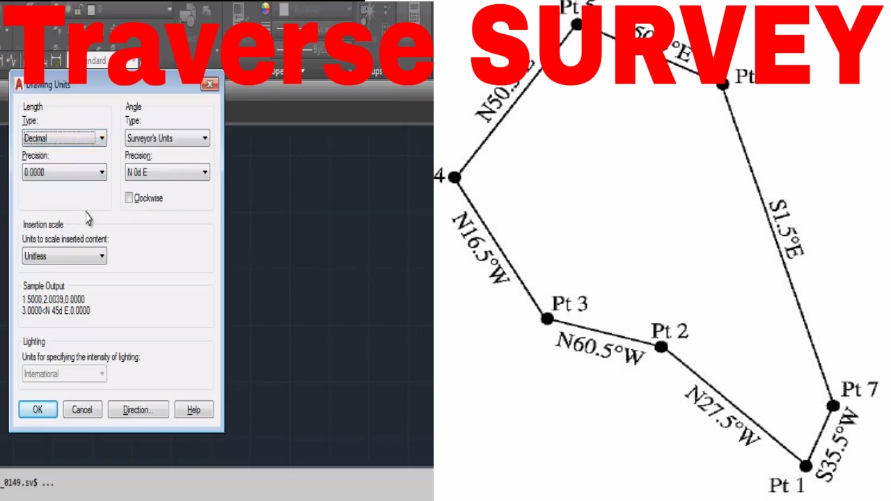 Drawing Lines In Autocad Using Bearings : Use set survey unit for bearing azimut in auto cad