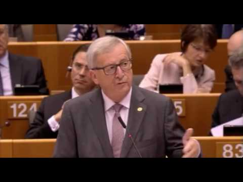 Jean Claude Juncker EU President, consults with Aliens  in Speech To EU Parliament