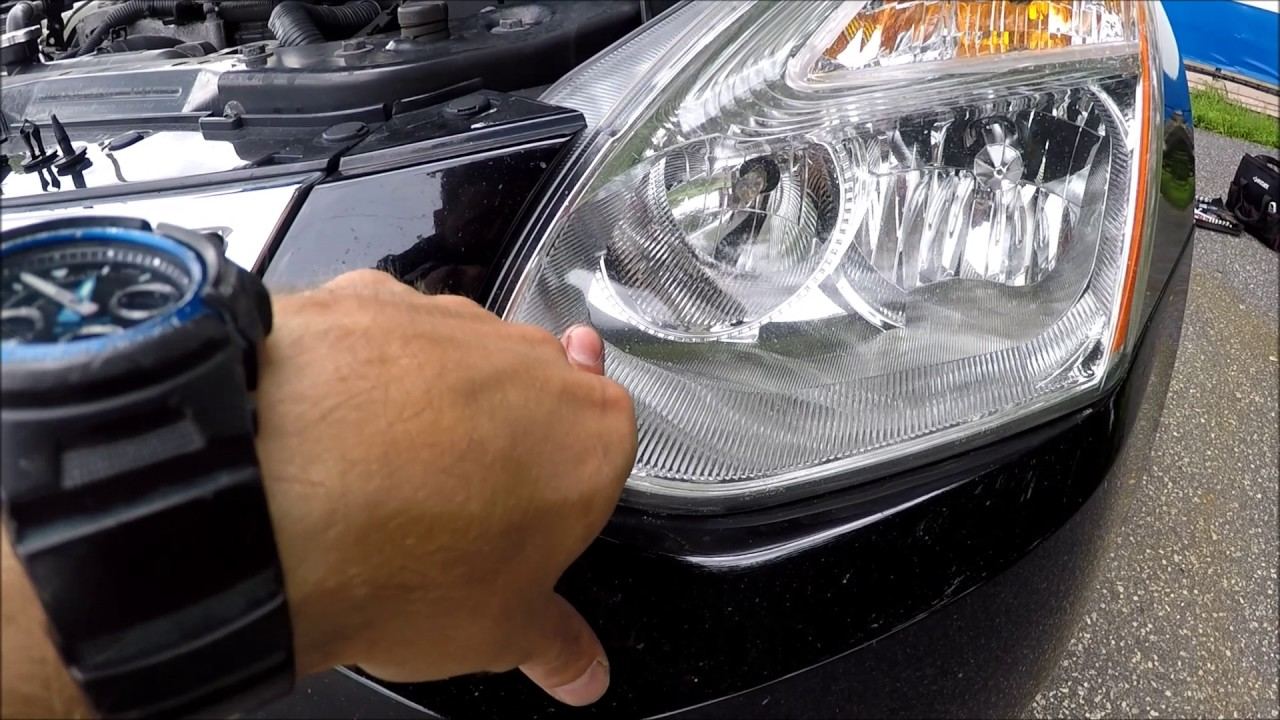 how to change replace headlight bulbs in nissan rogue 2007 2013 [ 1280 x 720 Pixel ]